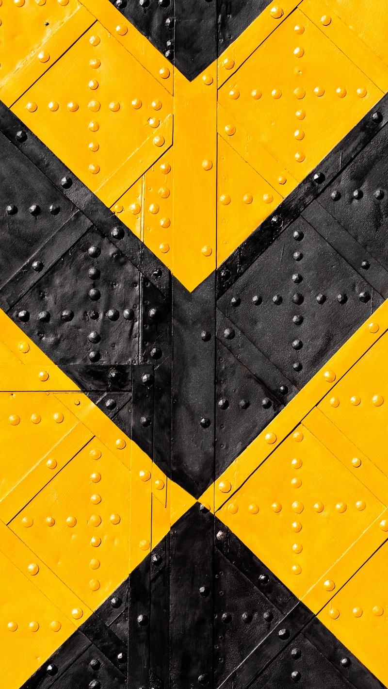 Wallpaper Iron Marking Stripes Yellow Black Rivets Black Yellow Wallpaper 4k 800x1420 Wallpaper Teahub Io