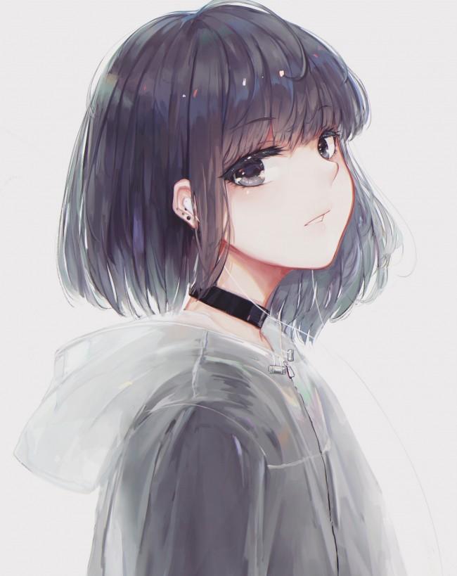 Anime Girl Profile View Choker Short Hair Coat Cute Anime Girl Short Hair 650x819 Wallpaper Teahub Io