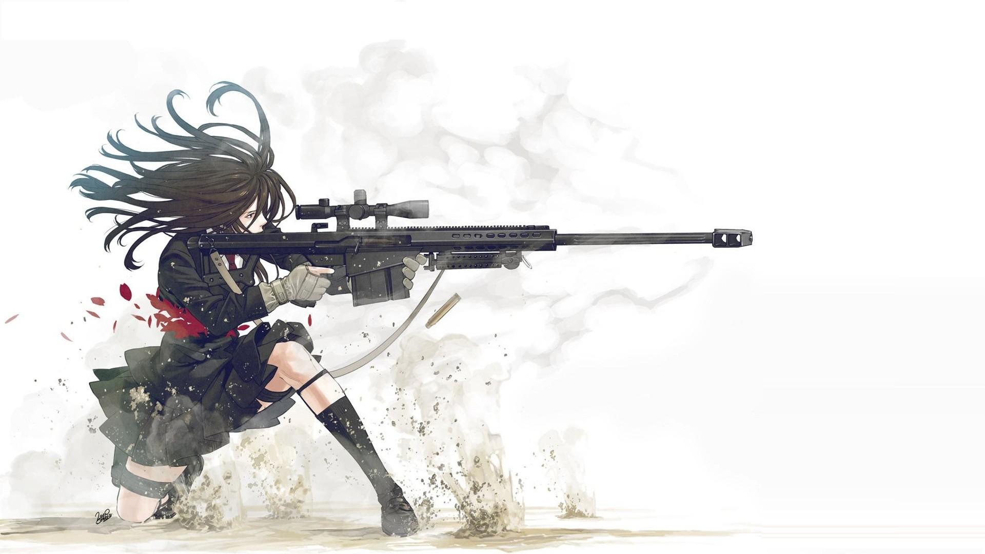 Anime Guns Weapons Manga Anime Girls White Background - Anime Girl With Sniper - HD Wallpaper