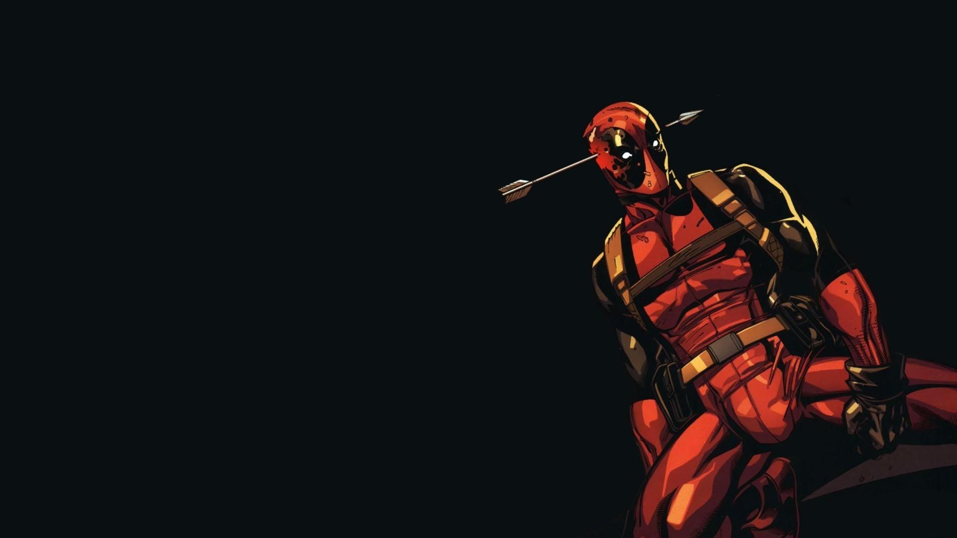 Deadpool, Artwork, Black Background, Simple Background, - Deadpool 1920 X 1080 - HD Wallpaper