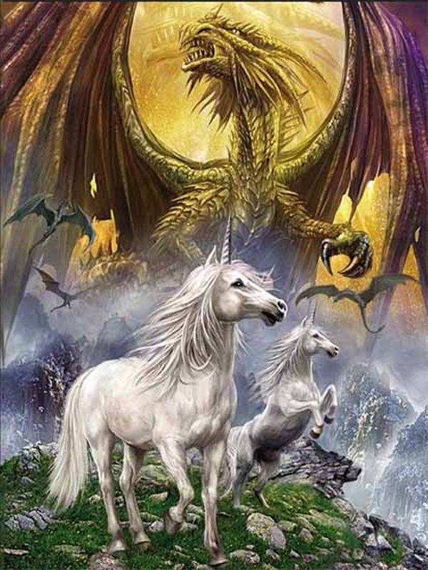 Agen Penjualan Dunia Kartun 3d Gambar Kuda Dekorasi - Mythical Creatures Unicorn Dragon - HD Wallpaper