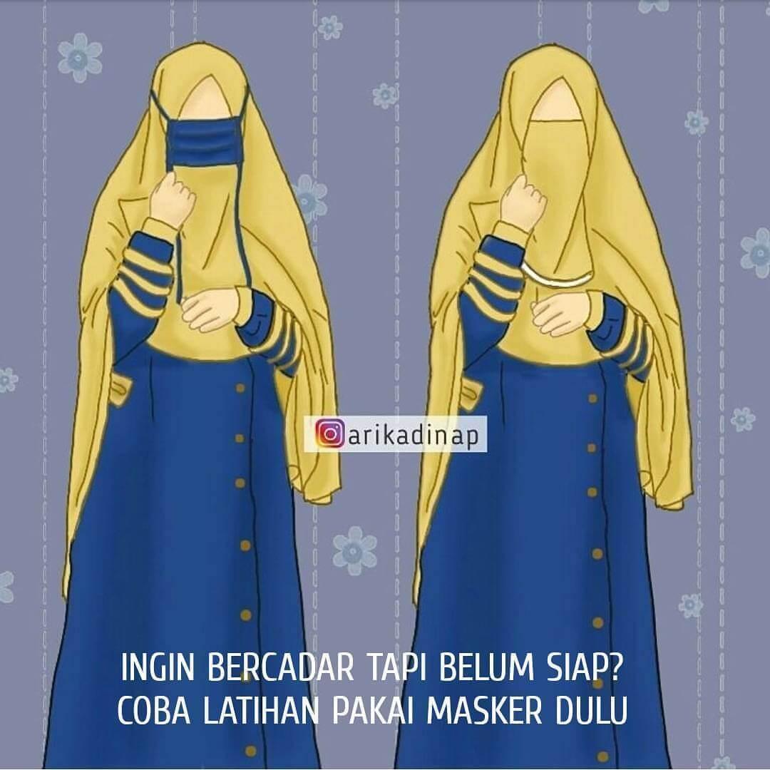 Gambar Muslimah Bercadar - Kartun Muslimah Bercadar Malu - HD Wallpaper