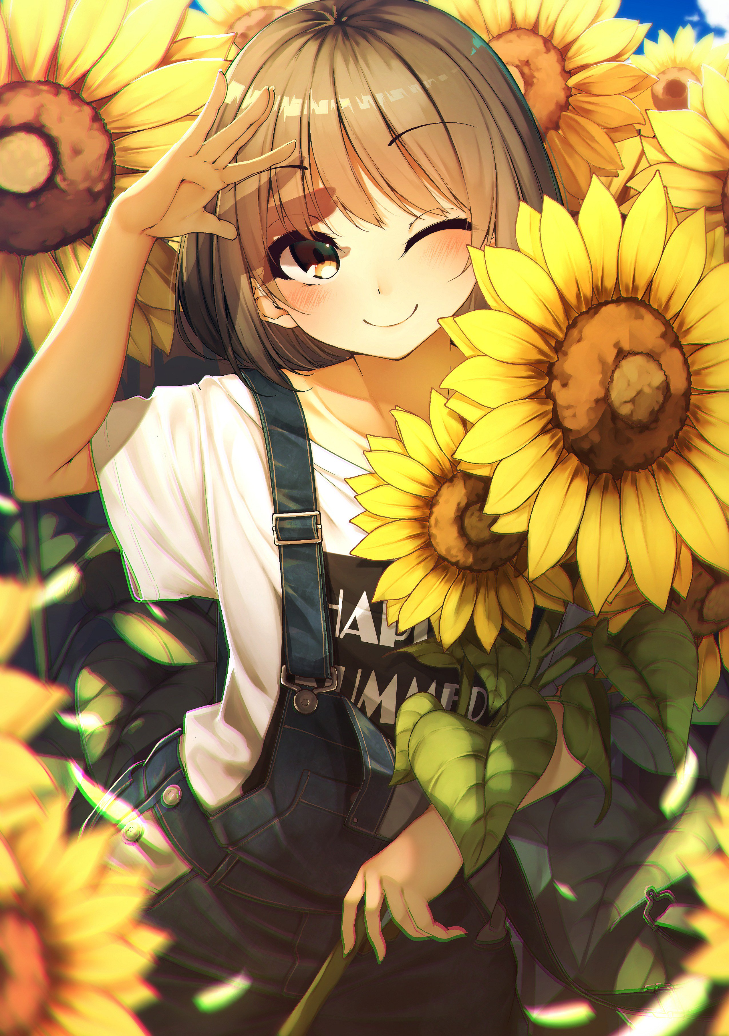 Anime Girl With Short Brown Hair And Brown Eyes - HD Wallpaper