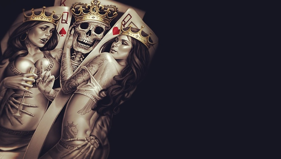 Poker Crown Cup Skeleton Seduction Queen Tattoos King And Queen 4k 970x550 Wallpaper Teahub Io