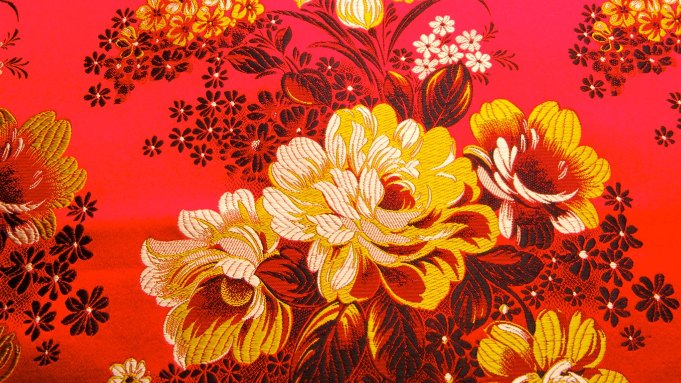 China Wind Exquisite Embroidery Wallpaper Chinese Flower Painting On Red Background 1366x768 Wallpaper Teahub Io