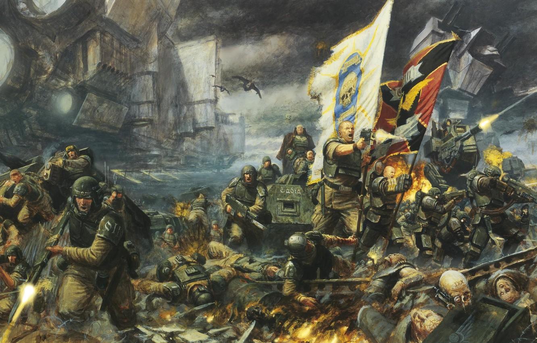 Photo Wallpaper Soldier War Flag Human Warhammer Imperial Guard 40k 1332x850 Wallpaper Teahub Io