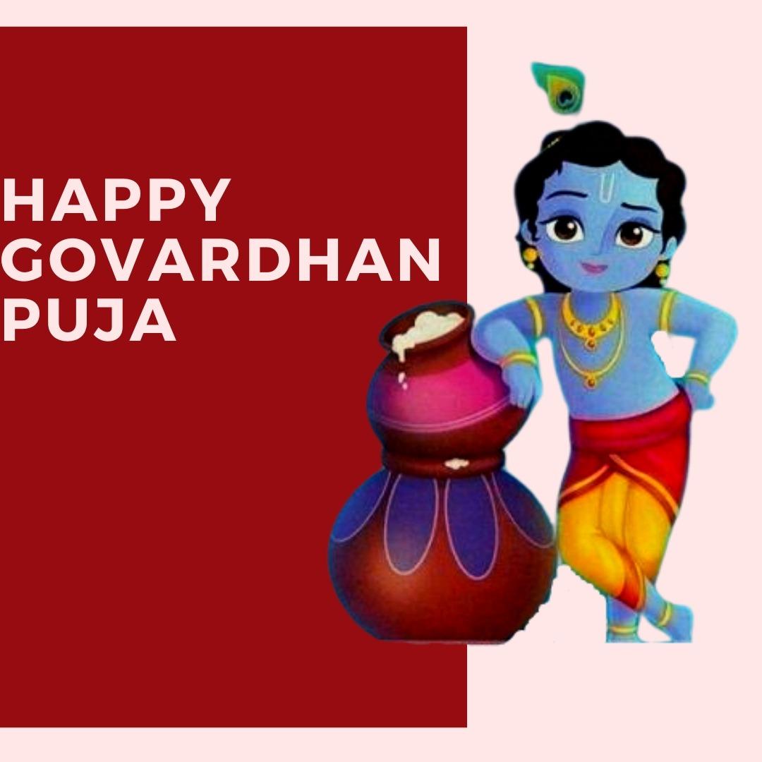 Happy Govardhan Puja - Cartoon Bal Krishna Png - HD Wallpaper
