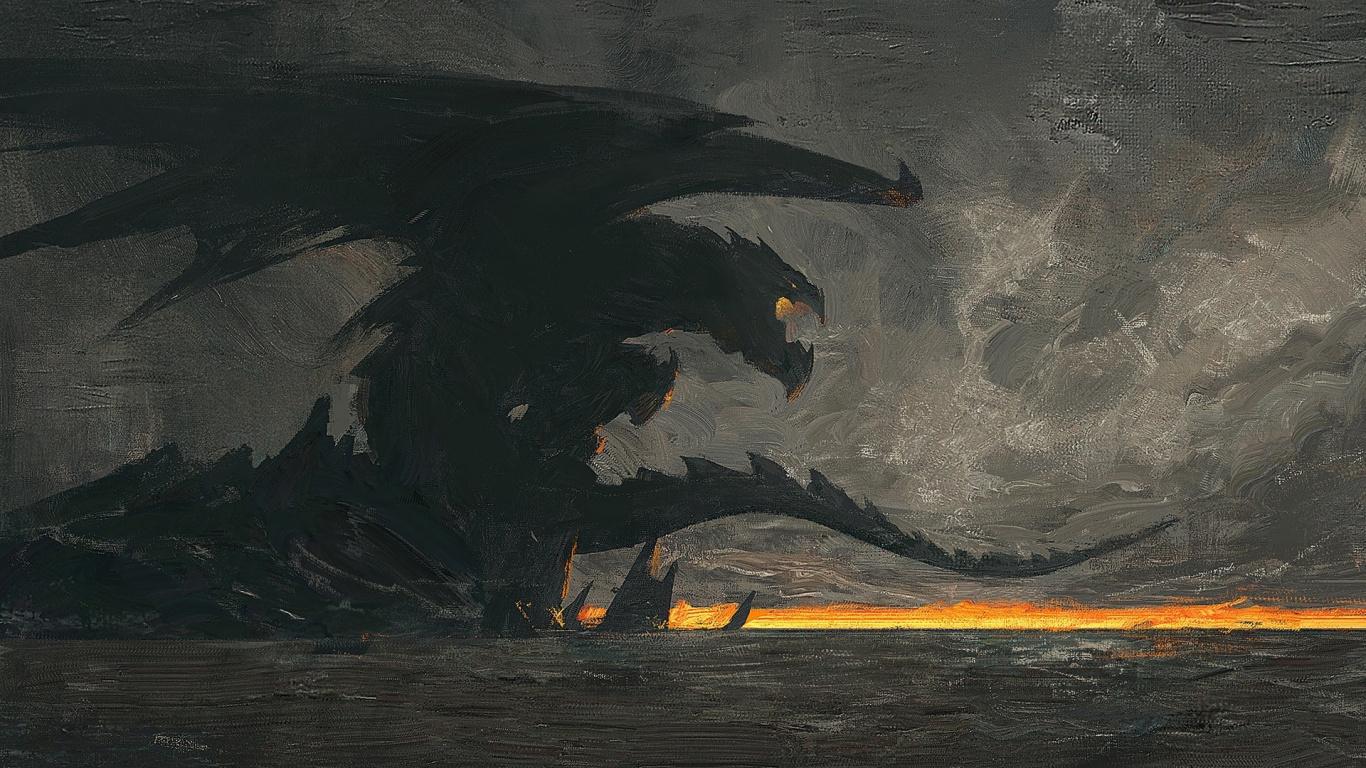 Dragon, Fantasy, Dark, Art, Wallpaper - Painting 1366 X 768 - HD Wallpaper