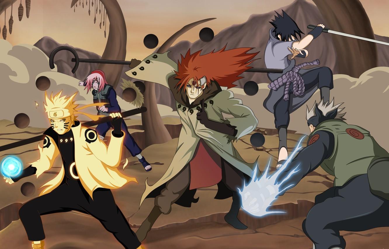 Photo Wallpaper Sword, Game, Anime, Sharingan, Asian, - Naruto Sakura Sasuke Kakashi - HD Wallpaper