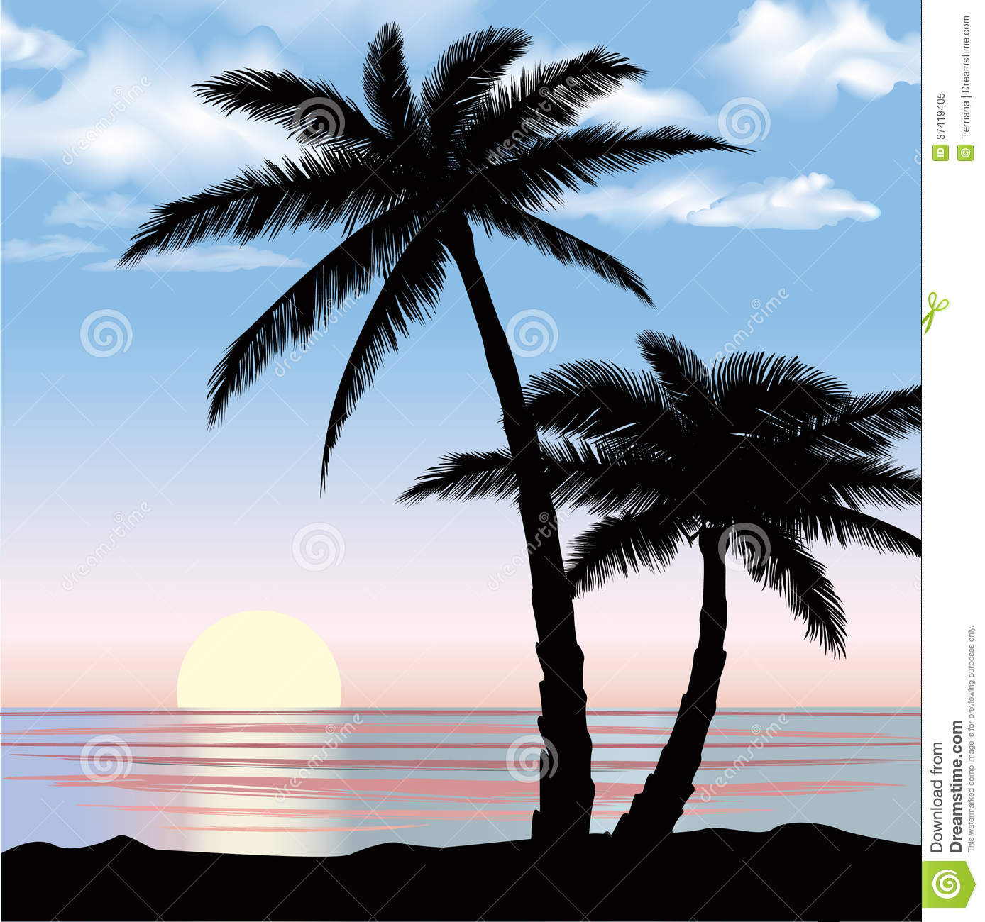 Silhouette Sunset With Palm Trees - HD Wallpaper