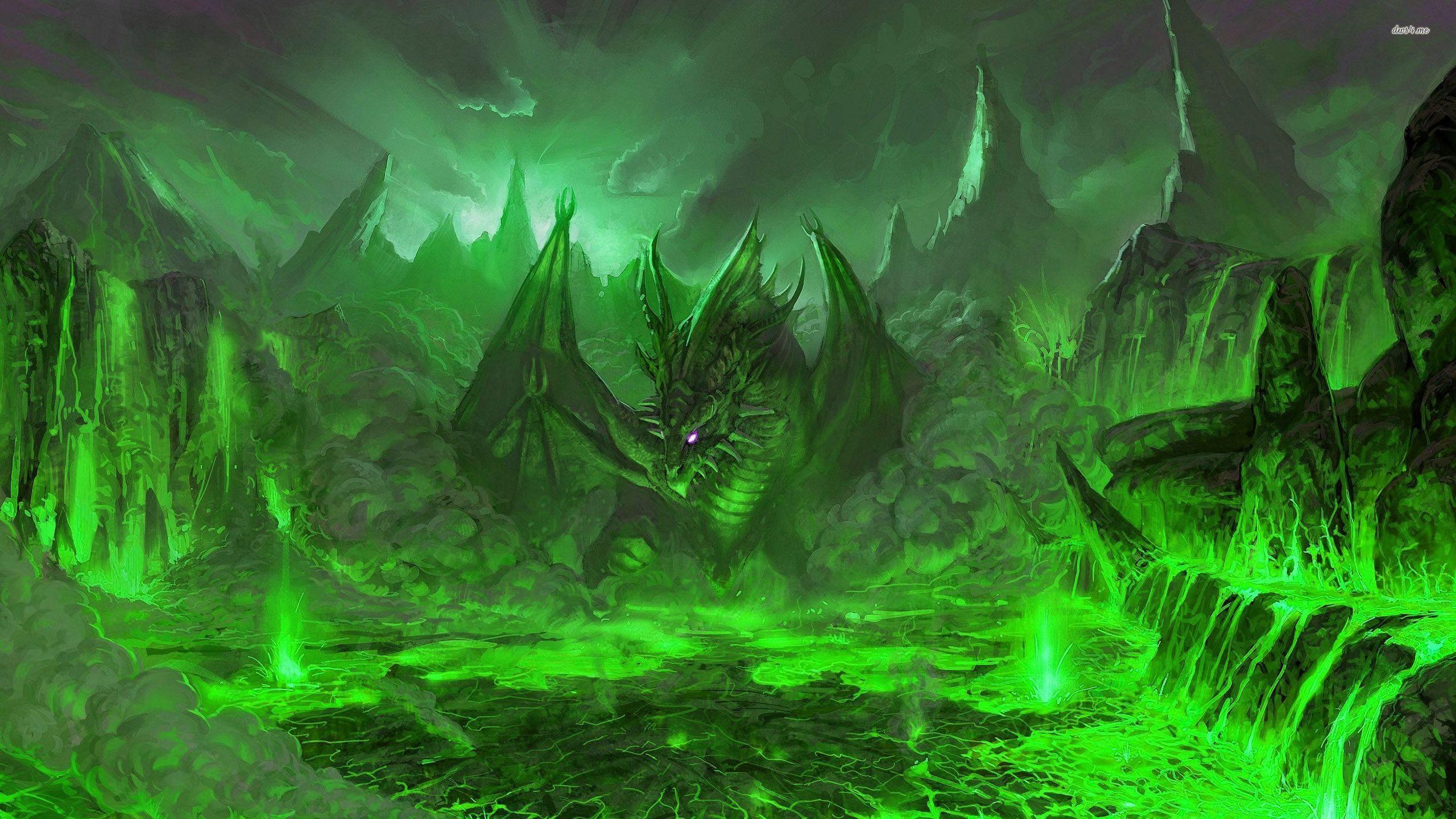 Green Dragon In The Volcano Wallpaper Green Dragon 2560x1440 Wallpaper Teahub Io