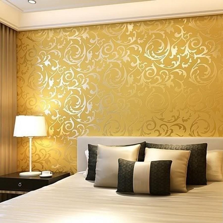 Italian Style Modern 3d Embossed Background Wallpaper - Golden Colour Wall Texture Designs - HD Wallpaper