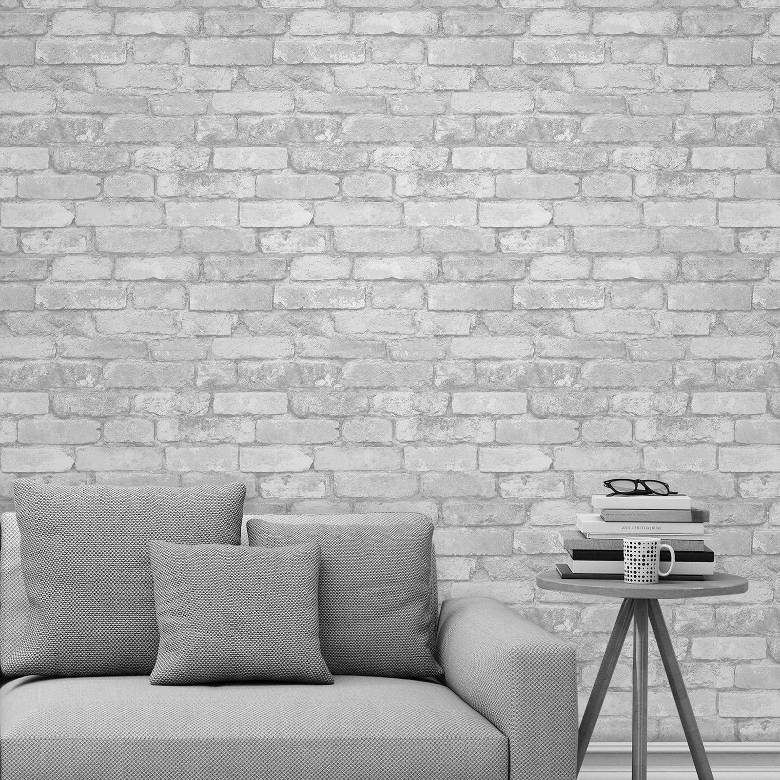 Rasch Brick Effect Wallpaper Grey Black Red Thumbnail - Pared De Ladrillo Pintada - HD Wallpaper