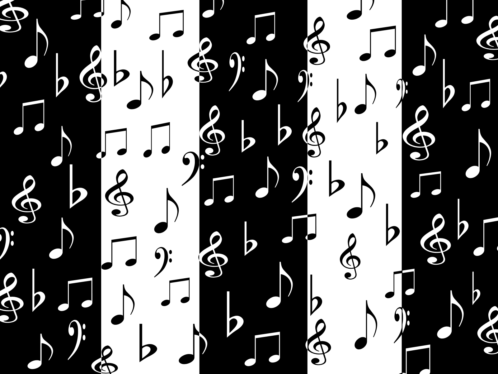 White Music Note On Black Background Picture Gallery - Music Notes  Wallpaper Black And White - 1600x1200 Wallpaper - teahub.io