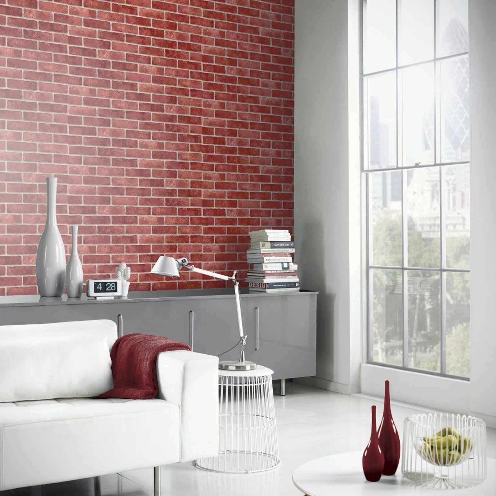 Red Brick Effect Realistic Wallpaper Room Decor Feature Red Brick Wallpaper Room 1600x1600 Wallpaper Teahub Io