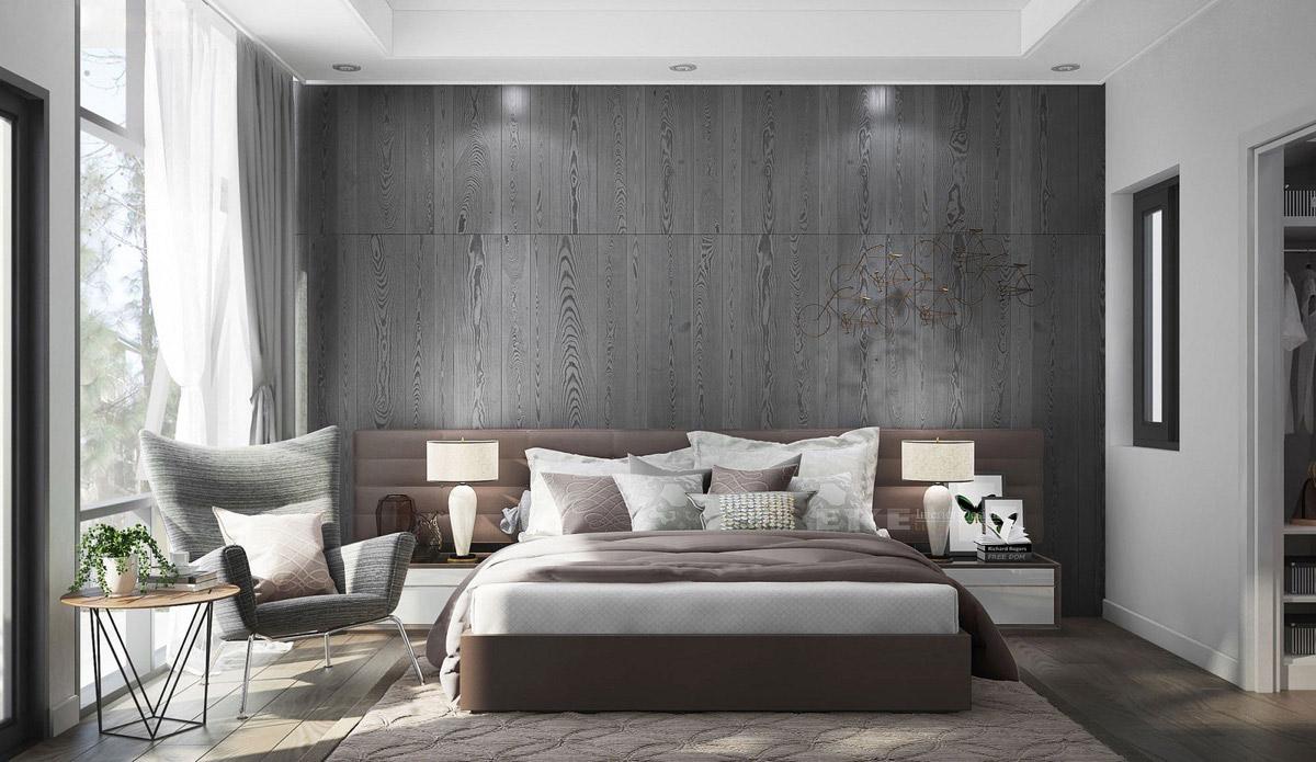 Grey Feature Wall Bedroom - HD Wallpaper