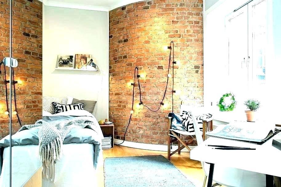 Brick Wallpaper In Bedroom Brick Wallpaper Bedroom - Hanging Lights On Brick Wall - HD Wallpaper