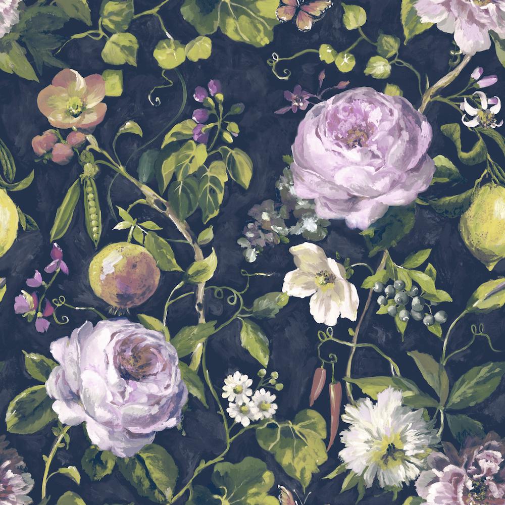Holden Decor Viola Vintage Floral Navy Wallpaper - Vintage Floral Wallpaper Uk - HD Wallpaper
