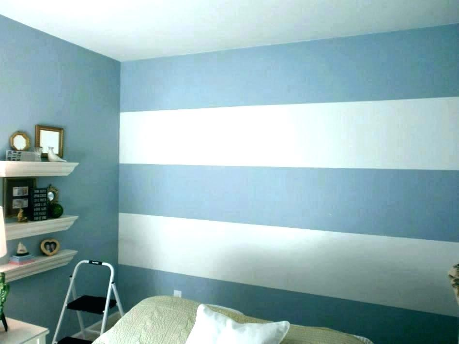 Striped Bedroom Walls Grey And White Striped Accent - Wall Paint Border Design - HD Wallpaper