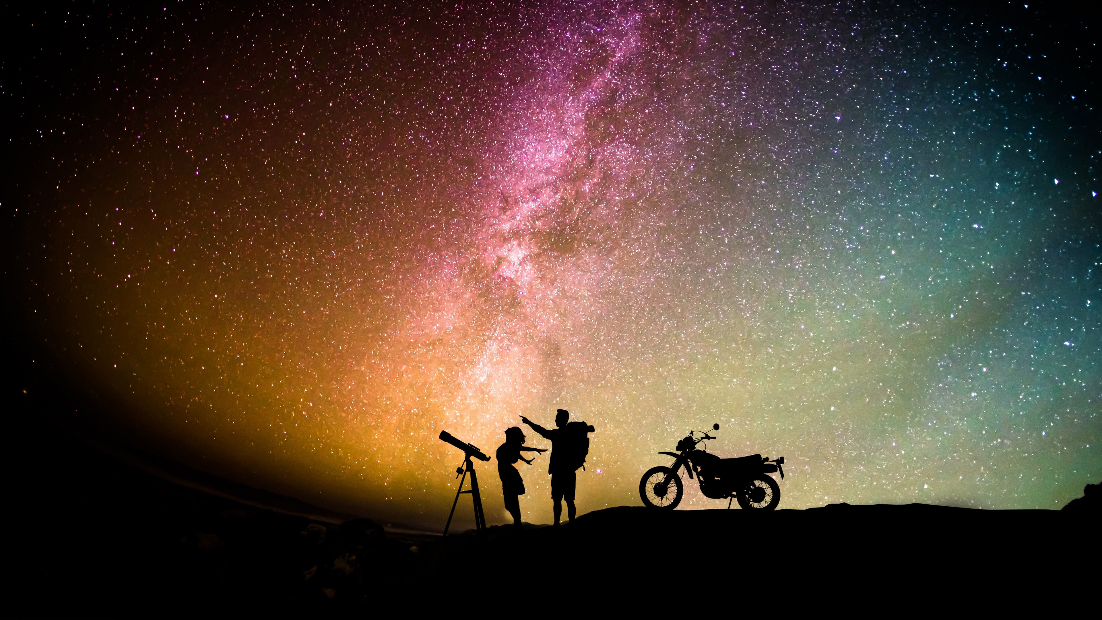 Love Romantic Couple Silhouette Starry Sky Wallpaper - Love Romantic Couple Background - HD Wallpaper