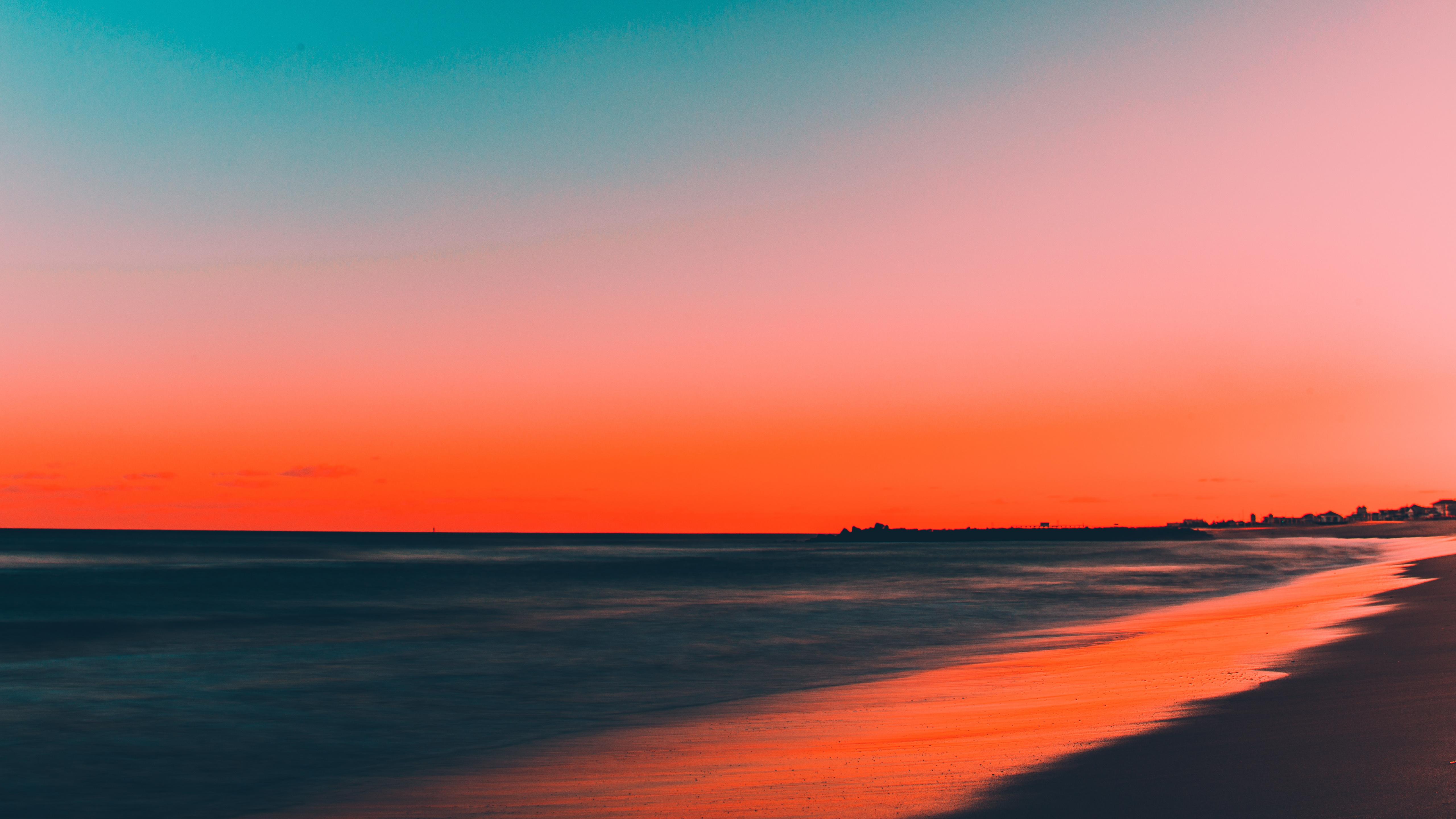 Beach, Clean Sky, Skyline, Sunset, 5120x2880, 5k Wallpaper - Sunset 4k - HD Wallpaper
