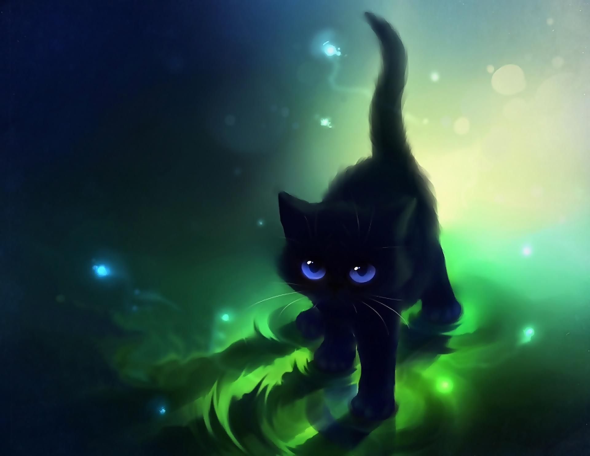Images For Cute Anime Cat Wallpapers Anime Black Cat Background 1920x1483 Wallpaper Teahub Io