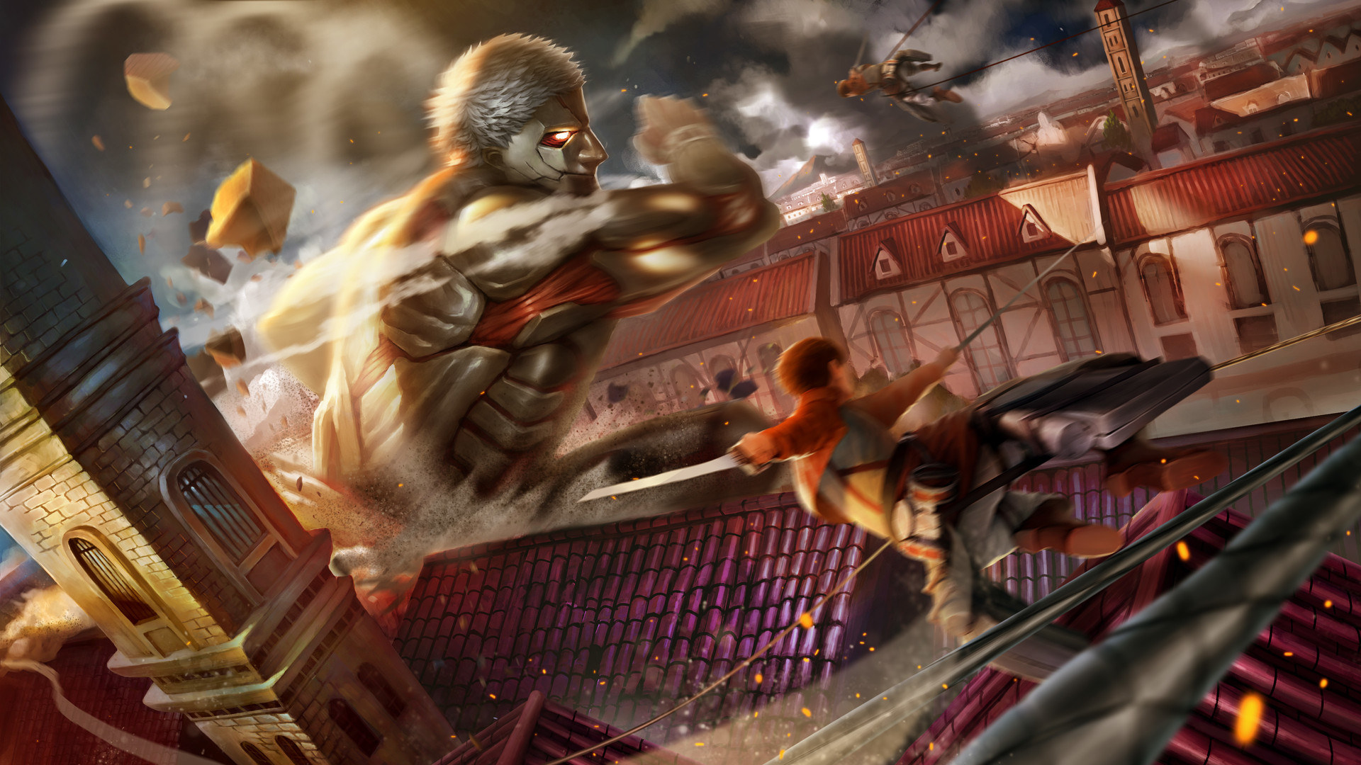 Wallpaper Of Armored Titan, Attack On Titan, City, - Attack On Titan Destroyed Background - HD Wallpaper