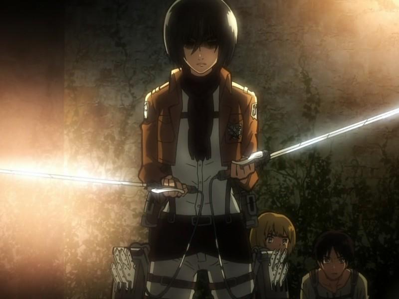 Attack On Titan Wallpaper In Hd - Mikasa Protecting Eren - HD Wallpaper