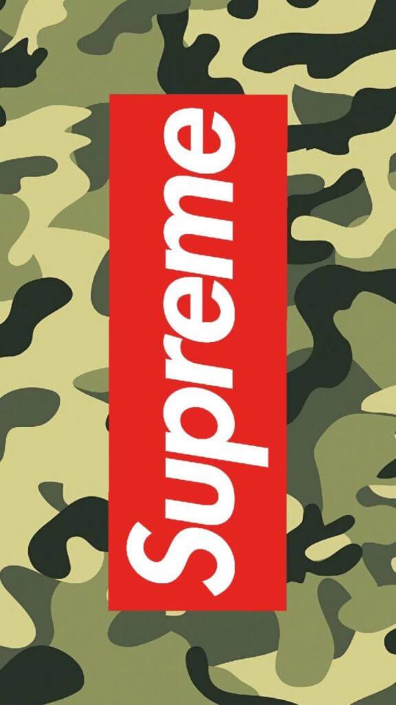Green Camouflage And Supreme Logo - Samsung A50 Supreme Case - HD Wallpaper