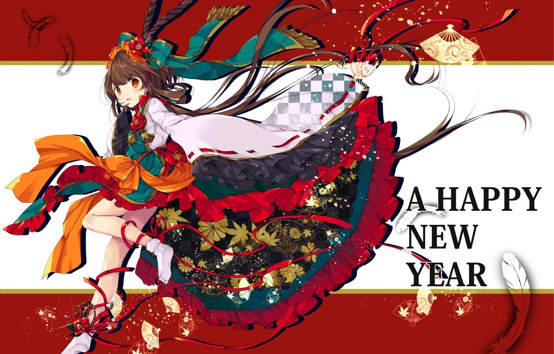 Photo Wallpaper Kawaii, Girl, Woman, Anime, Happy New - Happy New Year Japan Girls - HD Wallpaper