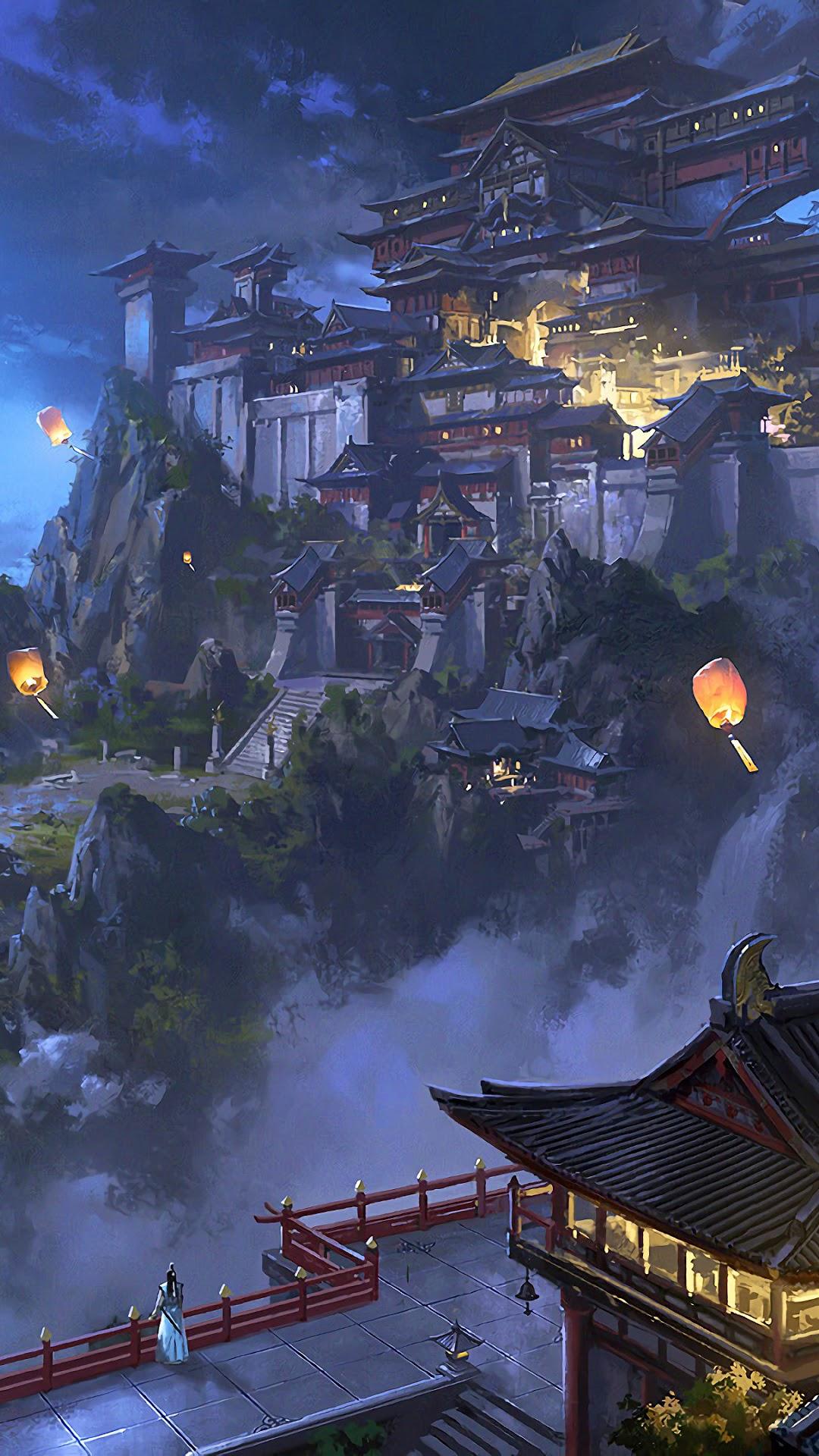 Anime Sky Lantern Mountain Japanese Castle Night Iphone 11 Wallpaper 4k Japan 1080x1920 Wallpaper Teahub Io