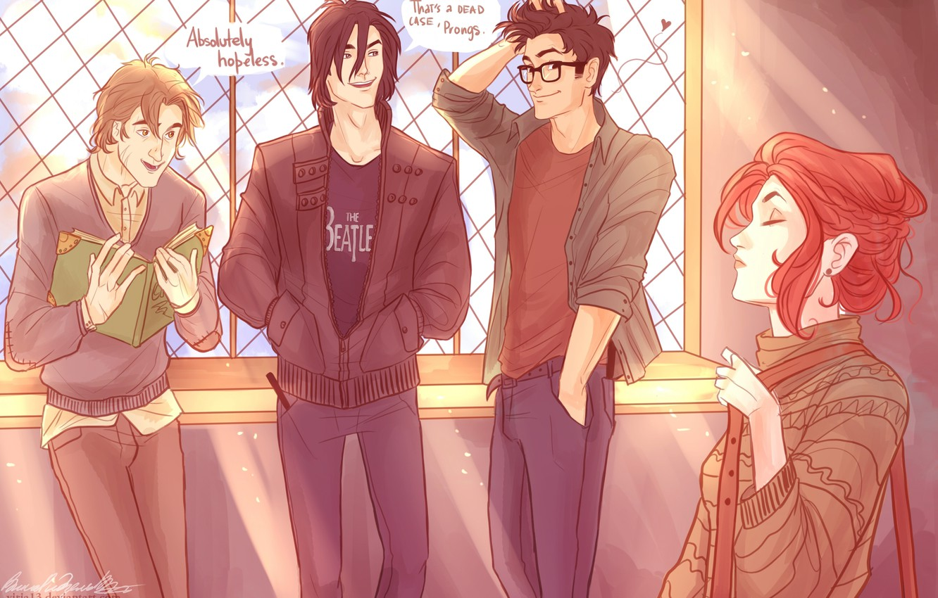 Photo Wallpaper Harry Potter, Lily Evans, Remus Lupin, - Harry Potter Fan Art Marauders - HD Wallpaper