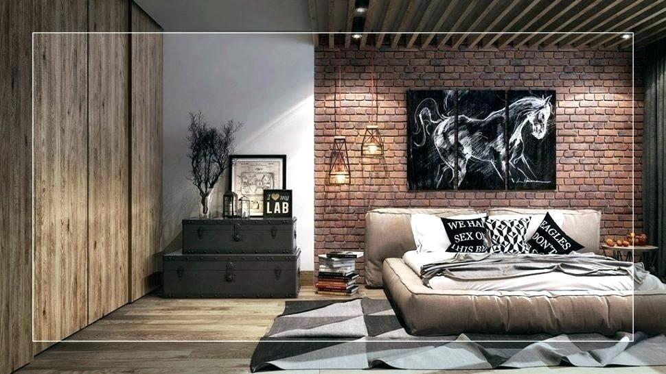 Brick Accent Wall Faux Bedroom Red Wallpaper Living - Industrial Rustic Bedroom Decor Ideas - HD Wallpaper