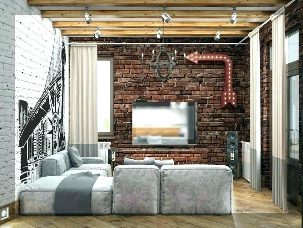 Fake Brick Wallpaper Exposed Brick Wallpaper Fake Brick - Brick Wall Look In Living Room - HD Wallpaper