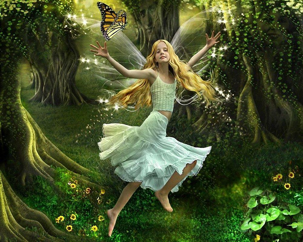 Fairy Wallpaper D Free Hd Wallpaper Hivewallpaper free - Nature Beautiful Girl Painting - HD Wallpaper