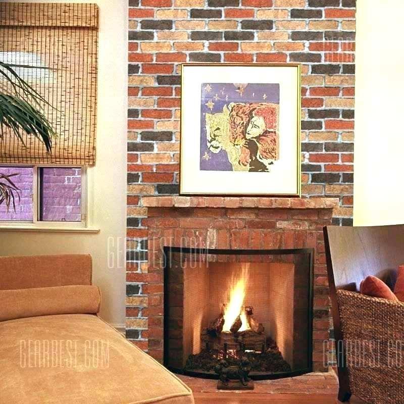 Fake Brick Wallpaper Fake Brick Wallpaper Faux Rustic - Wall Stickers Fireplace Brick - HD Wallpaper