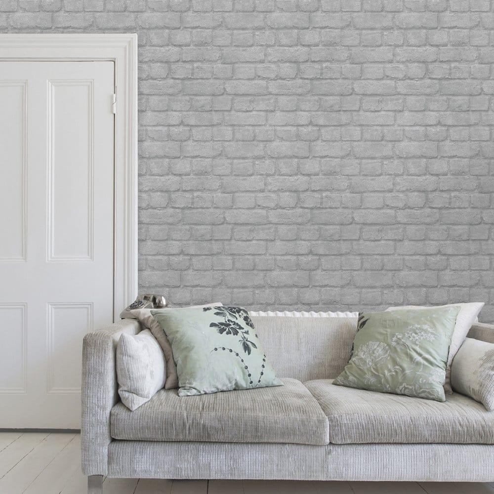 I Love Wallpaper Warehouse Photographic Brick Effect - Grey Brick Wallpaper Uk - HD Wallpaper