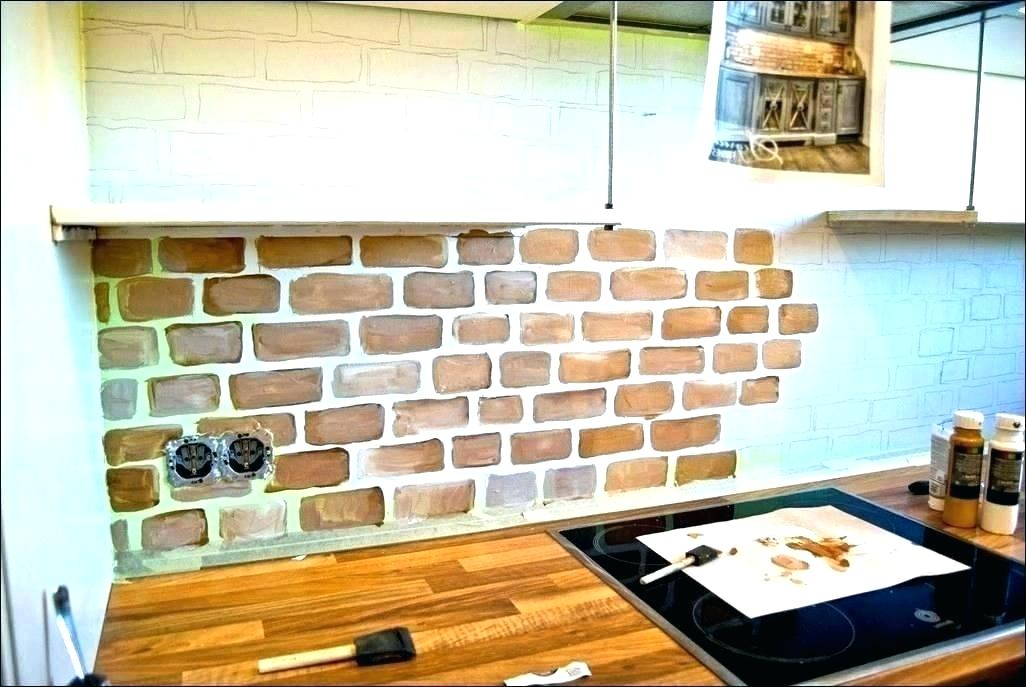 Faux Brick Wall Backsplash Kitchen - HD Wallpaper