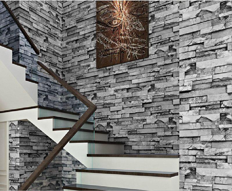 3d Faux Cultural Brick Stone Wallpaper Roll For Livingroom - Brick Wallpaper Stairs - HD Wallpaper