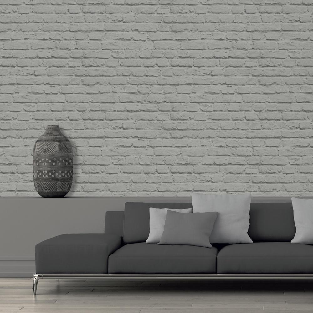 Painted Brick Wall Grey - HD Wallpaper