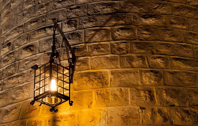 Photo Wallpaper Light, Metal, Wall, Lantern, Brick, - Brick Wall With Lights - HD Wallpaper