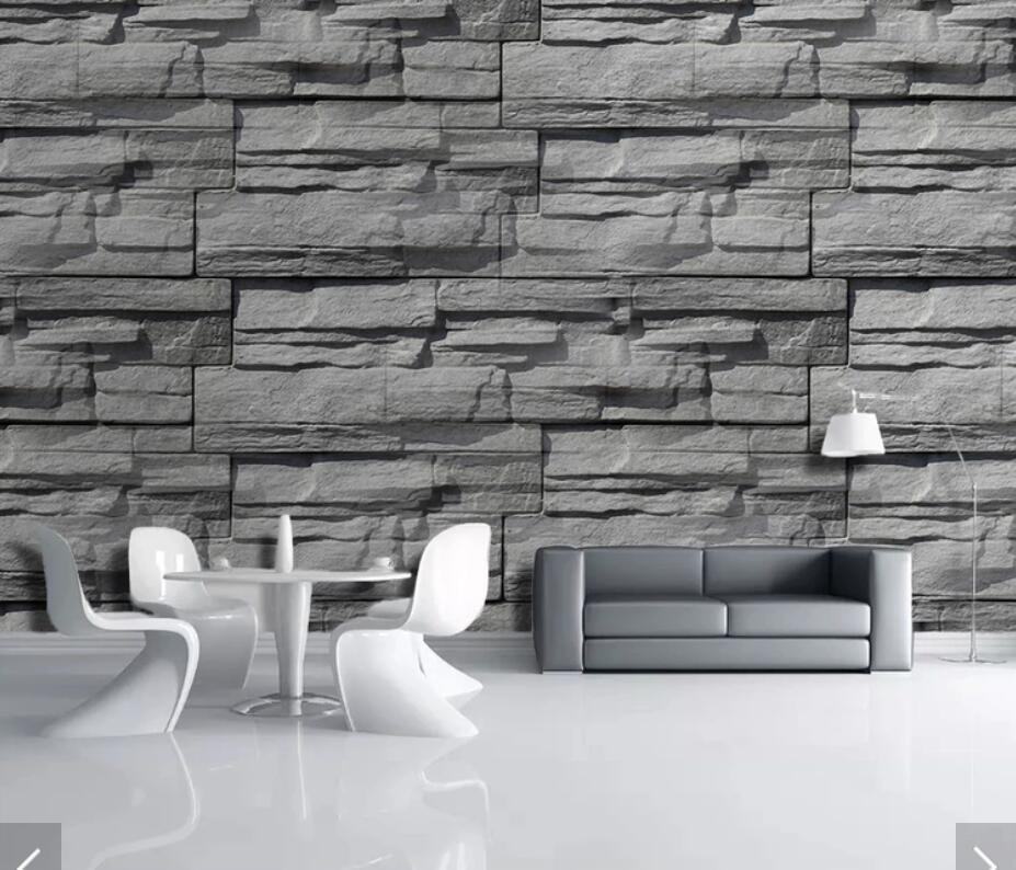 3d Printed Vintage Brick Wallpaper Mural For Living - Grey Stone Wall Seamless Textures - HD Wallpaper