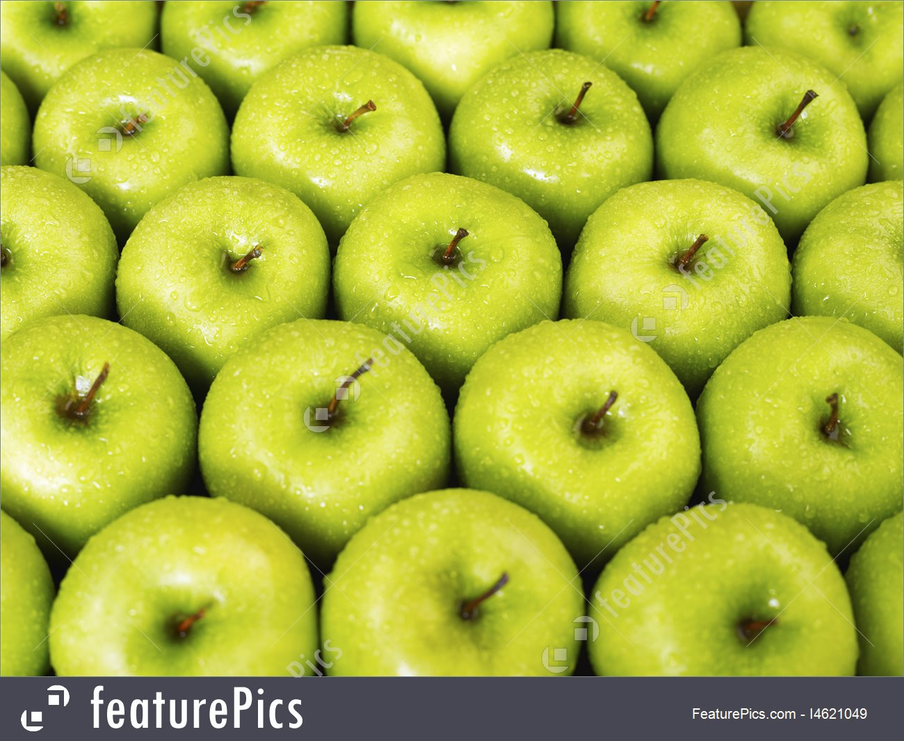 Large Group Of Green Apples In A Row - Apple - HD Wallpaper