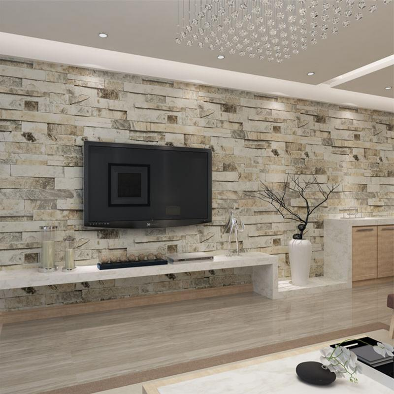 Brick Wall Paper Living Rooms Design - HD Wallpaper