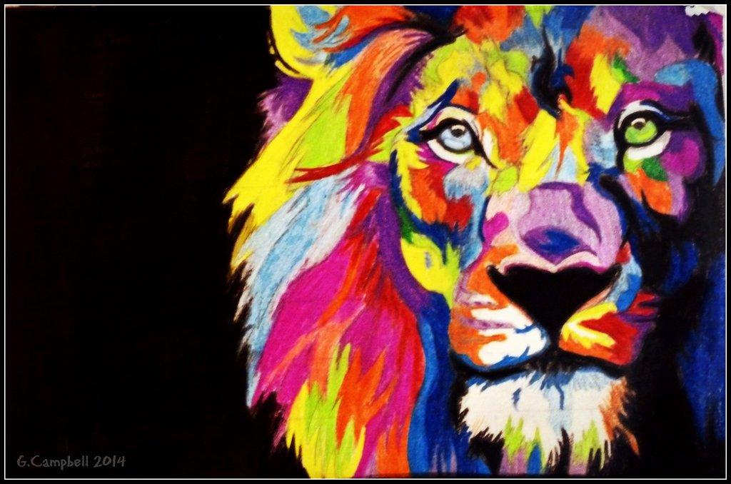 Colorful Lion Wallpaper Hd - HD Wallpaper