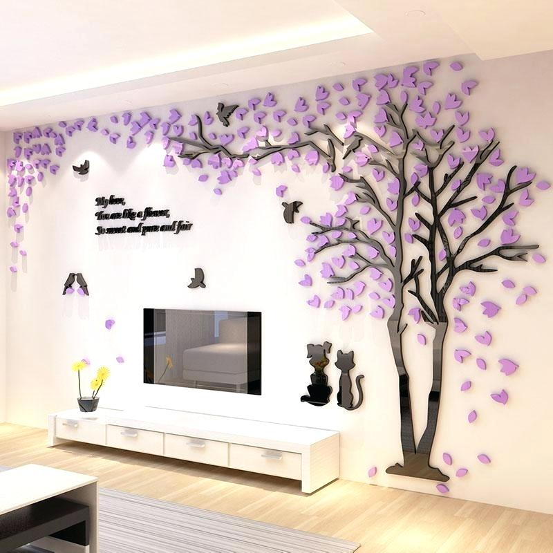 Tree Design On Wall New Tree Design Background Wall - Living Room Wall Stickers Design - HD Wallpaper