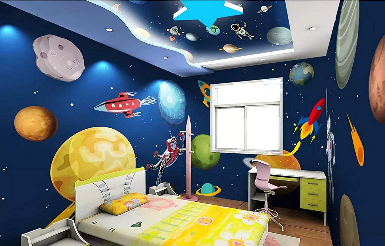 Wall Murals 3d Wallpaper Cartoon Hand Painted Universe - Hand Painted Children's Wall Murals - HD Wallpaper