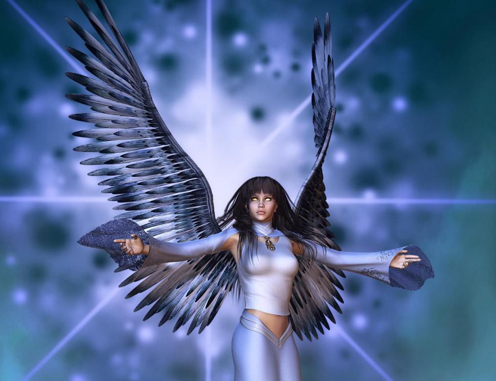 Angels 3d Graphics Fantasy Girls Gothic Angel Dark - Angel And Demon 3d - HD Wallpaper