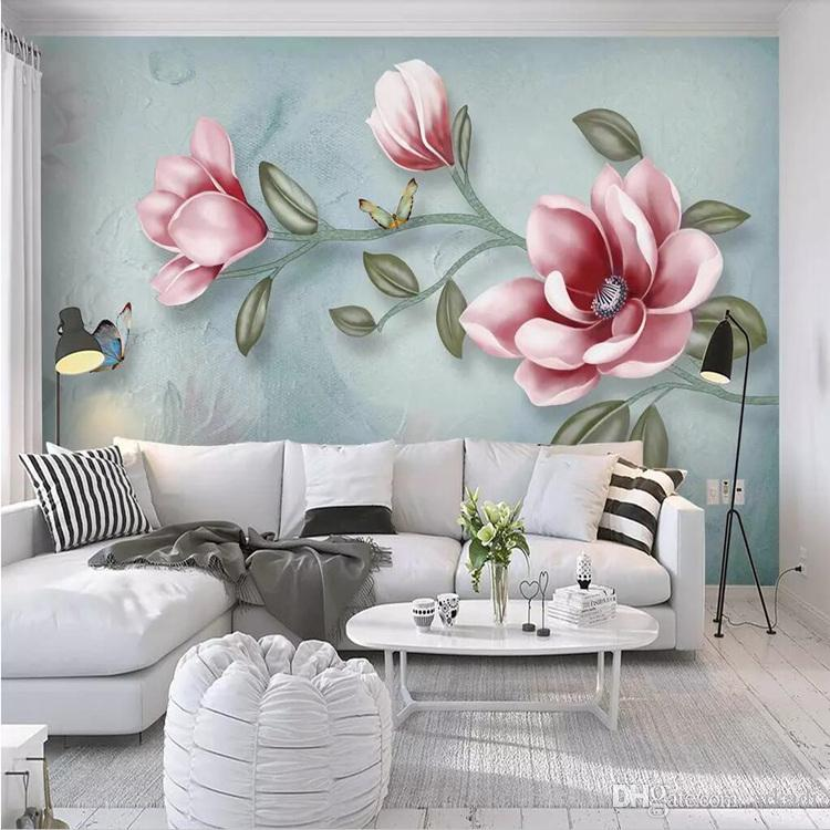 Hand Painted Floral Wall Mural - HD Wallpaper