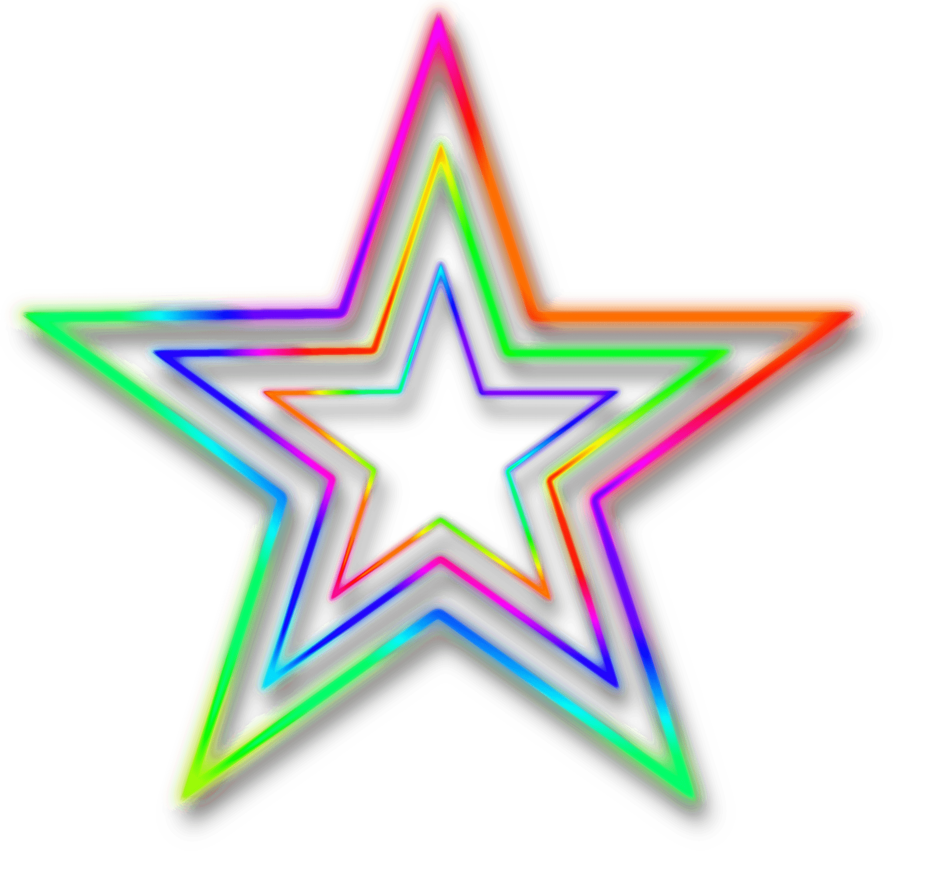 Neon Star Transparent Background - HD Wallpaper